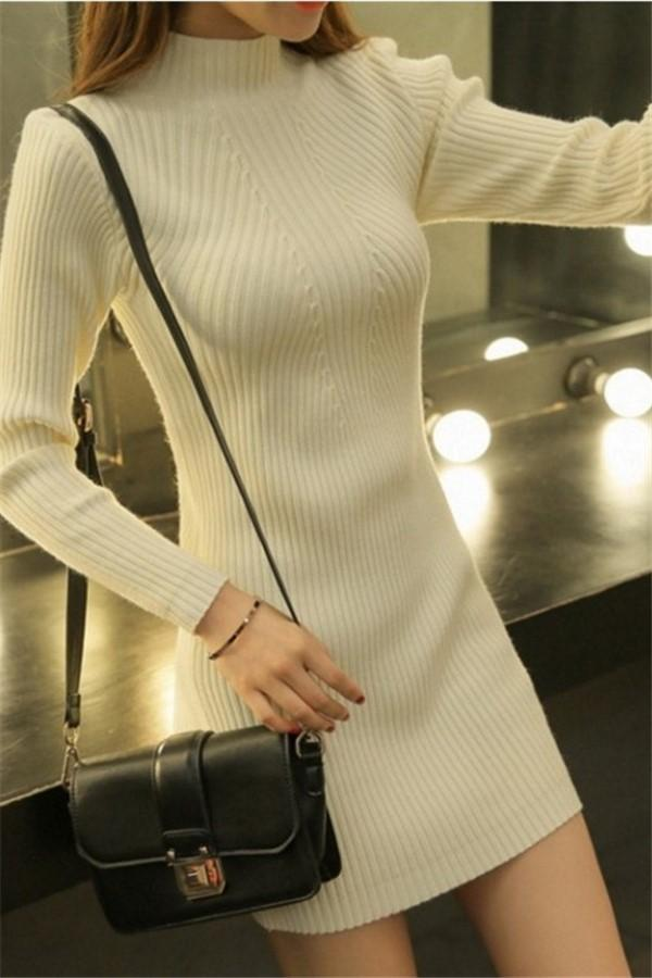 Sexy Pure Color Sexy   Half High Collar Slim Sweater Long Bodycon Dresses  Mini Dresses White one size