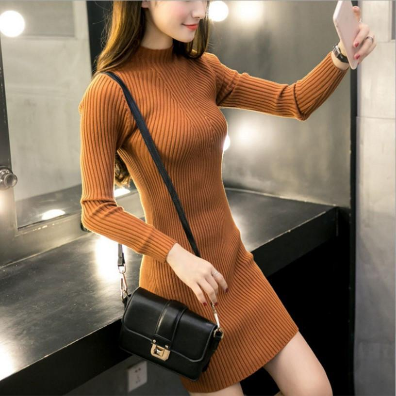 Sexy Pure Color Sexy   Half High Collar Slim Sweater Long Bodycon Dresses  Mini Dresses Gray one size