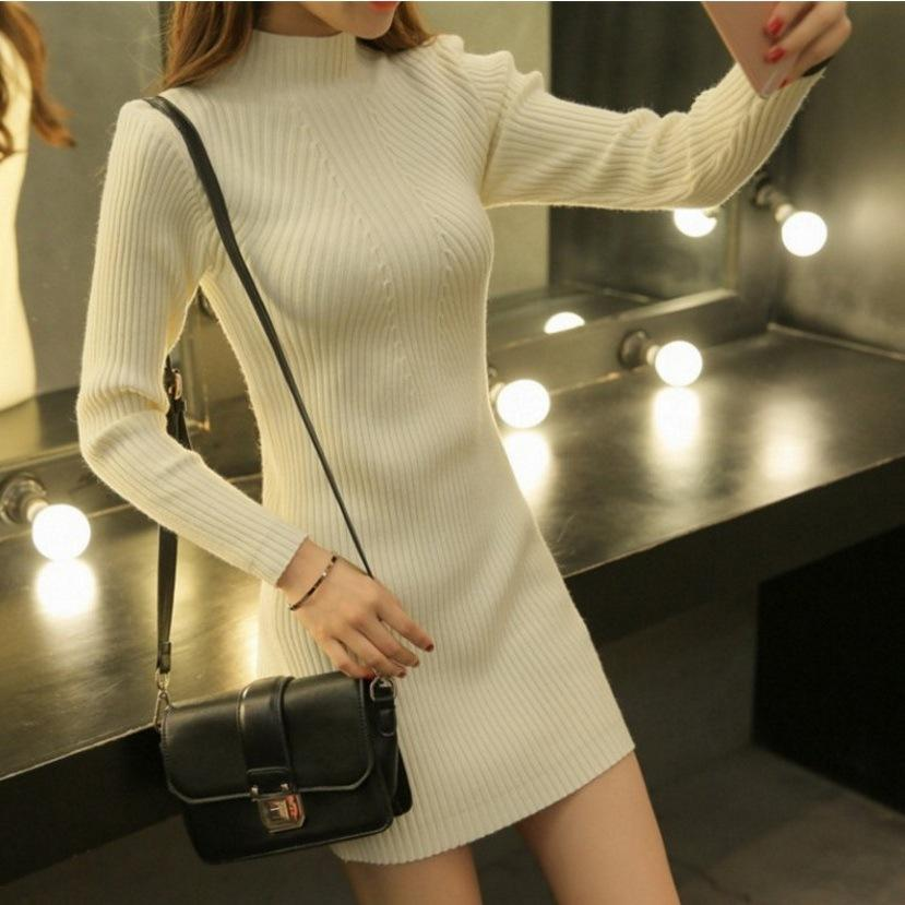 Sexy Pure Color Sexy   Half High Collar Slim Sweater Long Bodycon Dresses  Mini Dresses Khaki one size