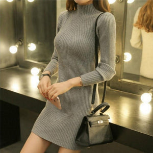 Sexy Pure Color Sexy   Half High Collar Slim Sweater Long Bodycon Dresses  Mini Dresses Claret one size