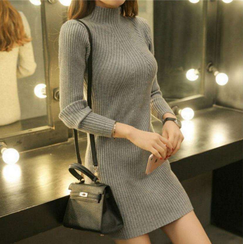 Sexy Pure Color Sexy   Half High Collar Slim Sweater Long Bodycon Dresses  Mini Dresses Black one size
