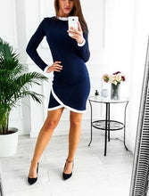Sexy Pure Color Long Sleeved Bodycon Dresses Mini Dresses