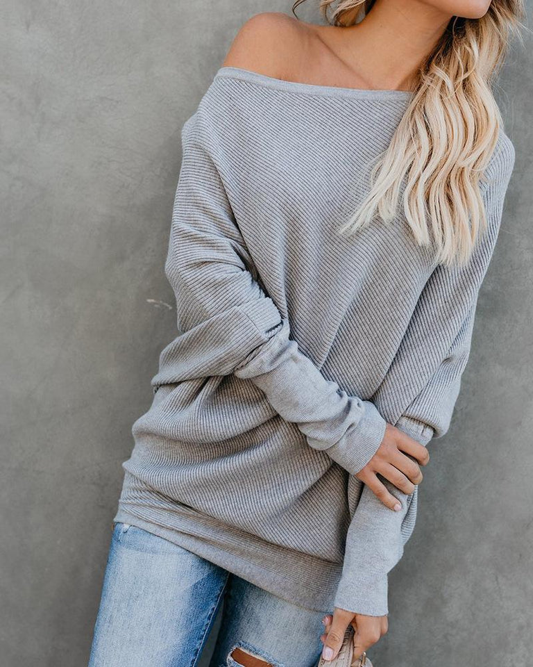 Autumn And Winter Sexy   Collared Long-Sleeved Knitted Sweater Gray xl