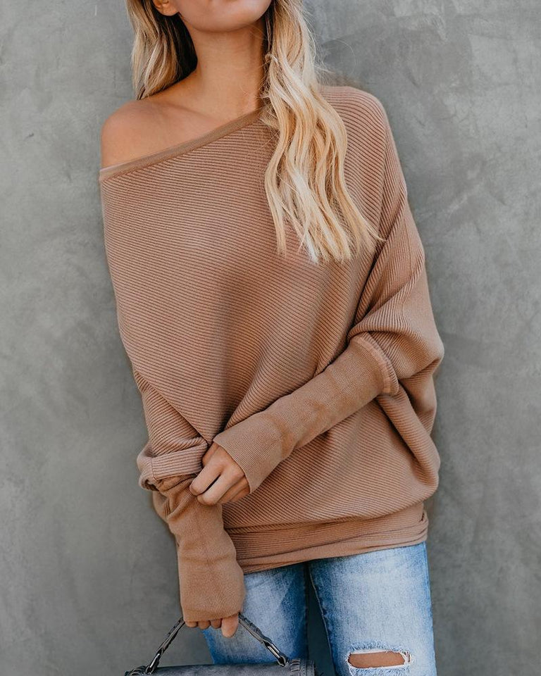 Autumn And Winter Sexy   Collared Long-Sleeved Knitted Sweater Khaki m