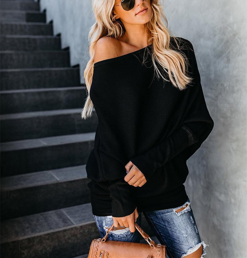 Autumn And Winter Sexy   Collared Long-Sleeved Knitted Sweater Gray s