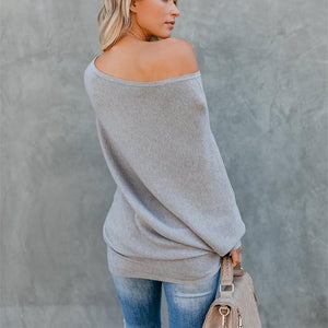 Autumn And Winter Sexy   Collared Long-Sleeved Knitted Sweater White m