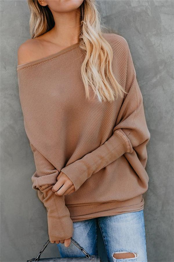 Autumn And Winter Sexy   Collared Long-Sleeved Knitted Sweater Khaki l