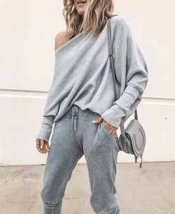 Autumn And Winter Sexy   Collared Long-Sleeved Knitted Sweater Gray m