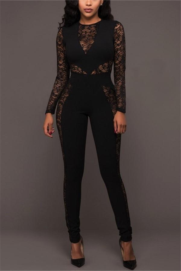 Sexy Lace Patchwork   High Waist Jumpsuit Black s