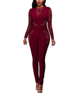 Sexy Lace Patchwork   High Waist Jumpsuit Red s
