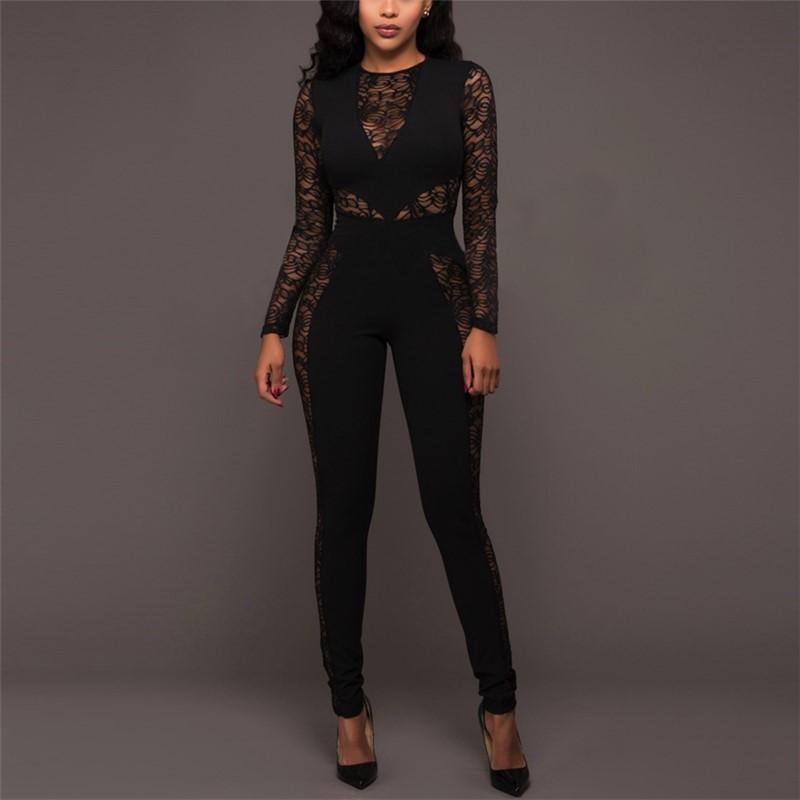 Sexy Lace Patchwork   High Waist Jumpsuit Black m