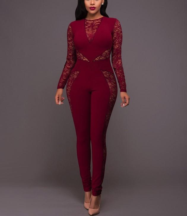 Sexy Lace Patchwork   High Waist Jumpsuit Red xl