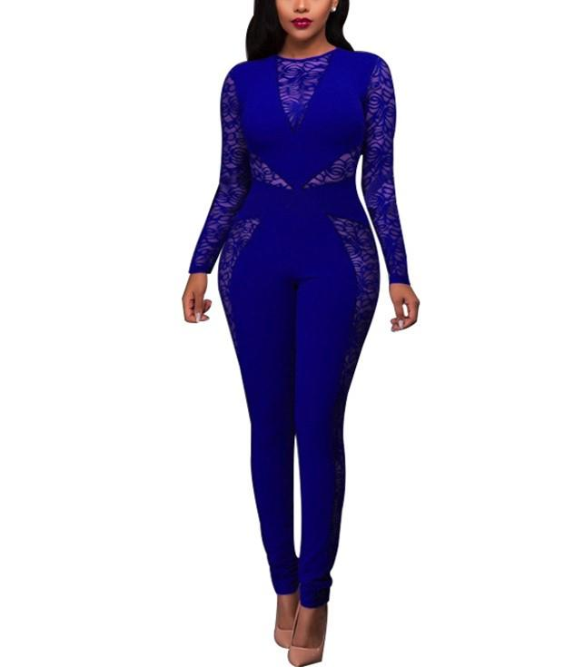Sexy Lace Patchwork   High Waist Jumpsuit Dark Blue l