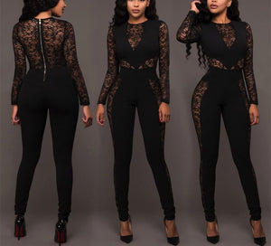 Sexy Lace Patchwork   High Waist Jumpsuit Black xl