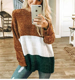 Autumn And Winter   Fashion Round Collar Splice Long-Sleeve Knitting Sweater Brown l