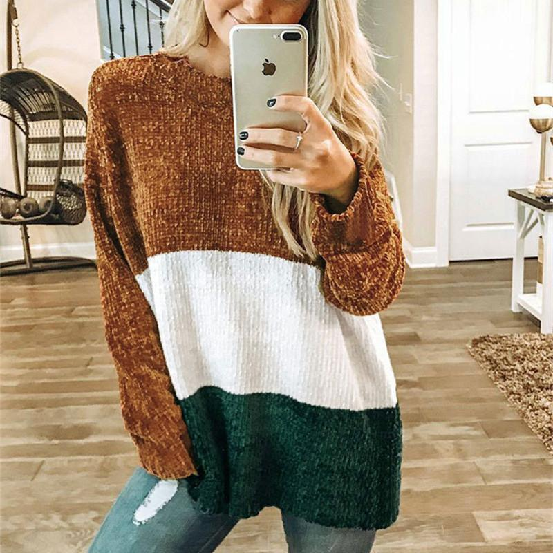 Autumn And Winter   Fashion Round Collar Splice Long-Sleeve Knitting Sweater Brown xl