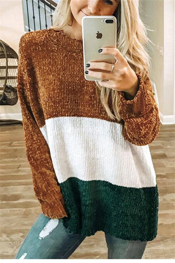 Autumn And Winter   Fashion Round Collar Splice Long-Sleeve Knitting Sweater Brown m