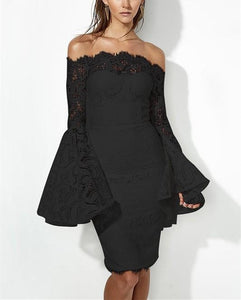 Sexy Long Sleeve Dress With Lace Bodice And Shoulder Horn Mini Evening Dress Black m
