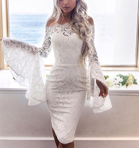Sexy Long Sleeve Dress With Lace Bodice And Shoulder Horn Mini Evening Dress White l