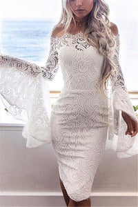 Sexy Long Sleeve Dress With Lace Bodice And Shoulder Horn Mini Evening Dress White m