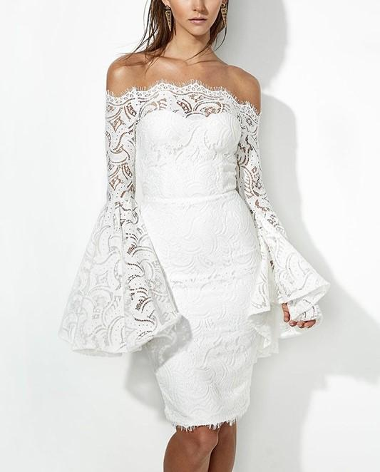 Sexy Long Sleeve Dress With Lace Bodice And Shoulder Horn Mini Evening Dress White xl