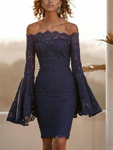 Sexy Long Sleeve Dress With Lace Bodice And Shoulder Horn Mini Evening Dress