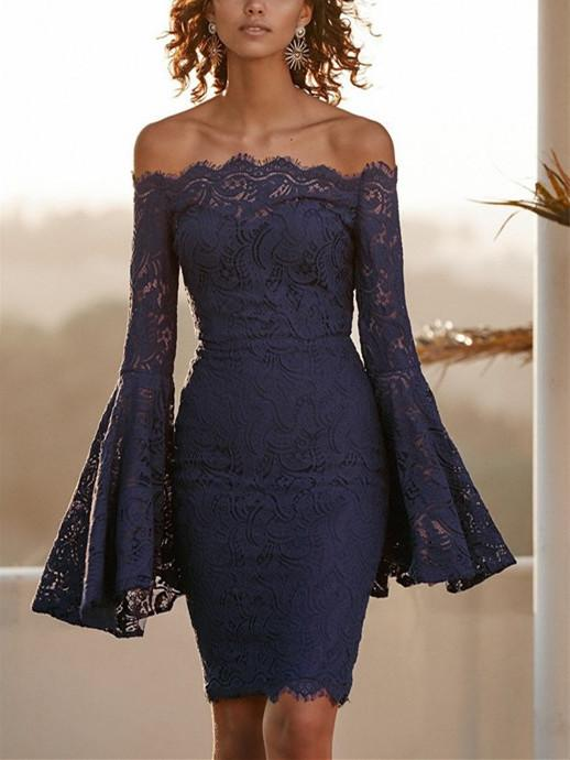 Sexy Long Sleeve Dress With Lace Bodice And Shoulder Horn Mini Evening Dress Blue s