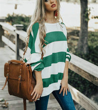 Fashion Round Collar Print Striped Long-Sleeved T-Shirt