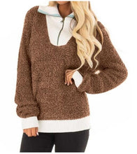 Fashion Plush Pit Strips Spliced With High-Necked Zipper Sweater Top