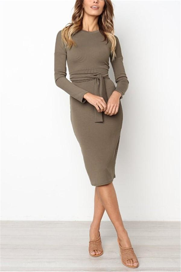 Sexy Pure Color   Temperamental Slim Maxi Dress Long Sleeve Coffee s