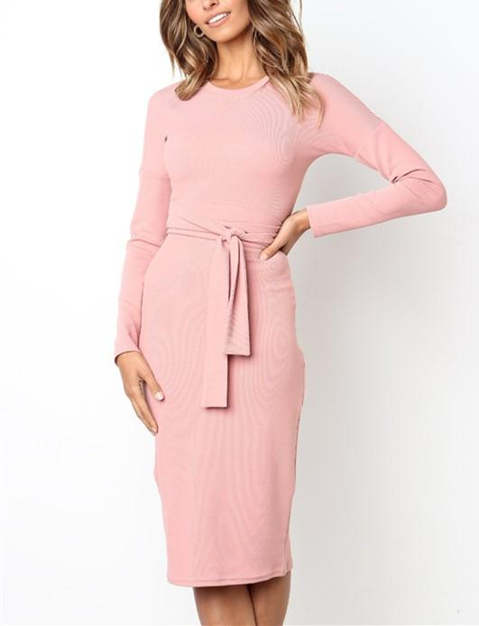 Sexy Pure Color   Temperamental Slim Maxi Dress Long Sleeve Pink m