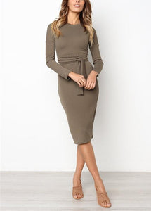 Sexy Pure Color   Temperamental Slim Maxi Dress Long Sleeve Coffee m