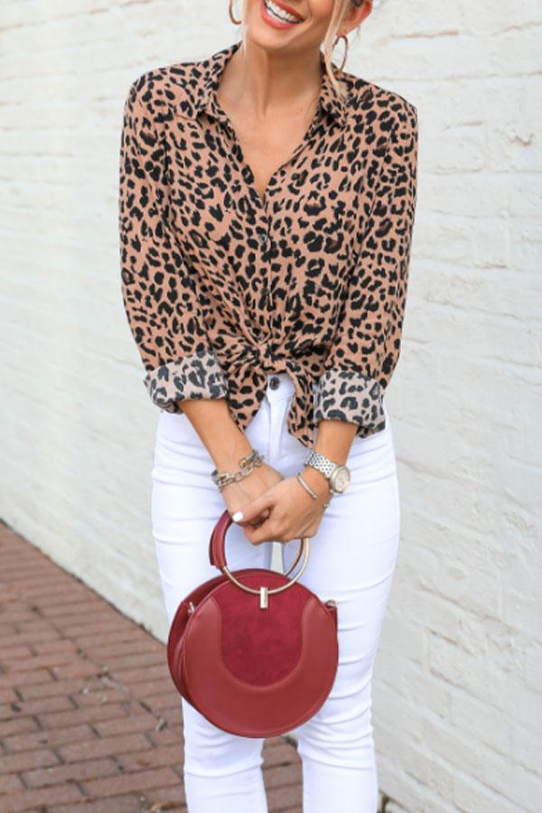 Turn Down Collar  Single Breasted  Leopard  Blouses Brown Leopard Print m
