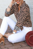 Turn Down Collar  Single Breasted  Leopard  Blouses Brown Leopard Print s