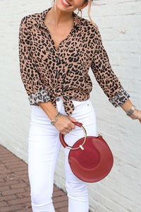 Turn Down Collar  Single Breasted  Leopard  Blouses Brown Leopard Print l