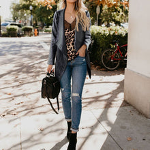 Stylish Cool Leather Solid Color Long Sleeve Jacket Cardigan