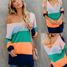 Autumn And Winter Fashion Sexy Halter Collage Shoulder Sweater