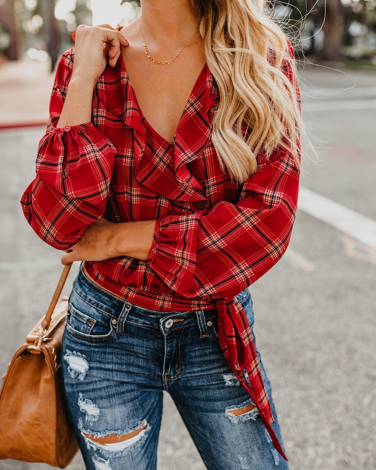 Autumn And Winter   Fashion Plaid Printing Irregular With Long Sleeves Tied With Short Shirts Red l