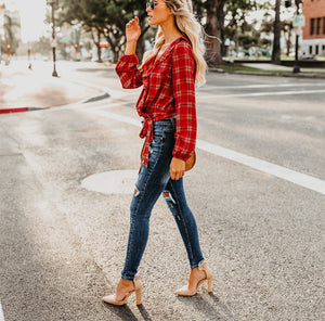 Autumn And Winter   Fashion Plaid Printing Irregular With Long Sleeves Tied With Short Shirts Green xl