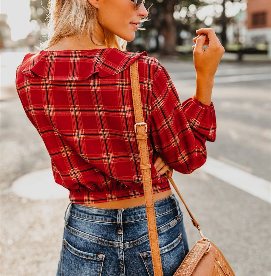 Autumn And Winter   Fashion Plaid Printing Irregular With Long Sleeves Tied With Short Shirts Green m