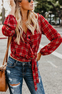 Autumn And Winter   Fashion Plaid Printing Irregular With Long Sleeves Tied With Short Shirts Red m