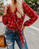 Autumn And Winter   Fashion Plaid Printing Irregular With Long Sleeves Tied With Short Shirts Red xl