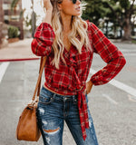 Autumn And Winter   Fashion Plaid Printing Irregular With Long Sleeves Tied With Short Shirts Red s