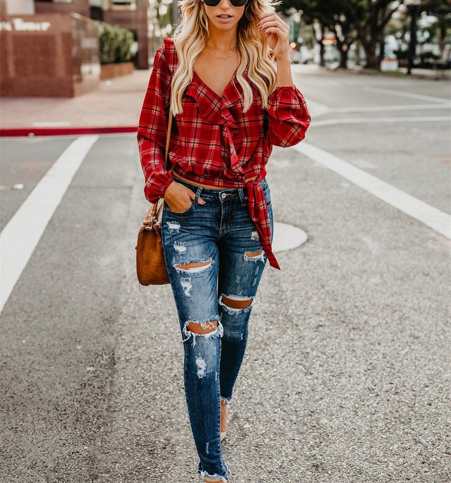 Autumn And Winter   Fashion Plaid Printing Irregular With Long Sleeves Tied With Short Shirts Green s