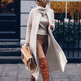 Fashion Solid Color Long Sleeve Overcoat Beige m