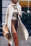 Fashion Solid Color Long Sleeve Overcoat Beige s