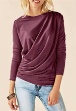 Pure Color Slim And Drape Long Sleeve T-Shirt With Irregular Round Collar