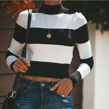 Fashion Casual Sexy Slim Short Striped T-Shirt