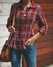 Fashion Slim Lapel Joker Long Sleeve Plaid Shirt
