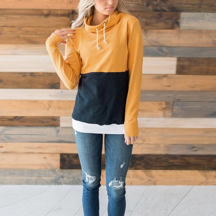 Fashion Slim Collage   Long Sleeve Hooded Sweater Yellow m